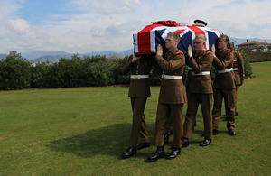 1st Battalion Coldstream Guards take LCpl Blackham to his final resting place. All rights reserved