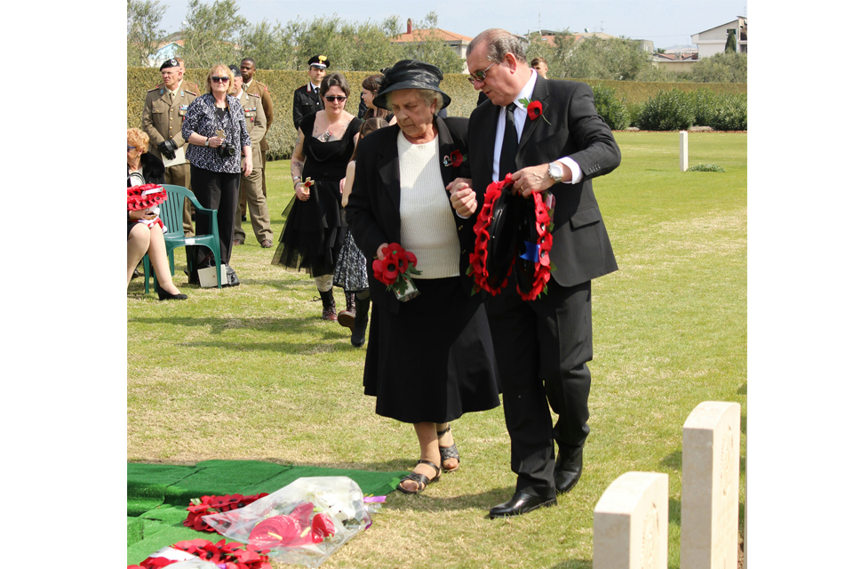 Alma Williams and Michael Blackham lay a wreath for their brother and uncle, LCpl Blackham, All rights reserved