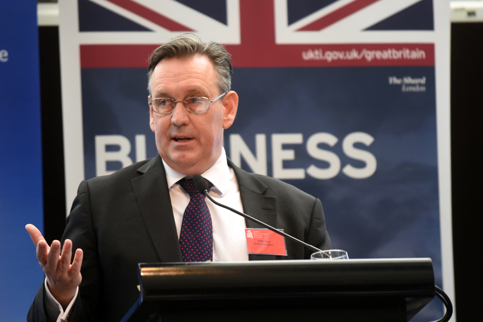 British Consul General to Hong Kong and Macao Andrew Heyn addresses UK and local businesses at the British Chamber of Commerce in Hong Kong