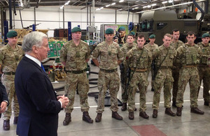 Defence Secretary Sir Michael Fallon visited the Royal Marines (RM) base at Chivenor today to underline the importance of the South West to the defence of the UK. Crown copyright.