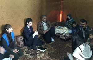 Minister Rory Stewart at an ITS in Bekaa