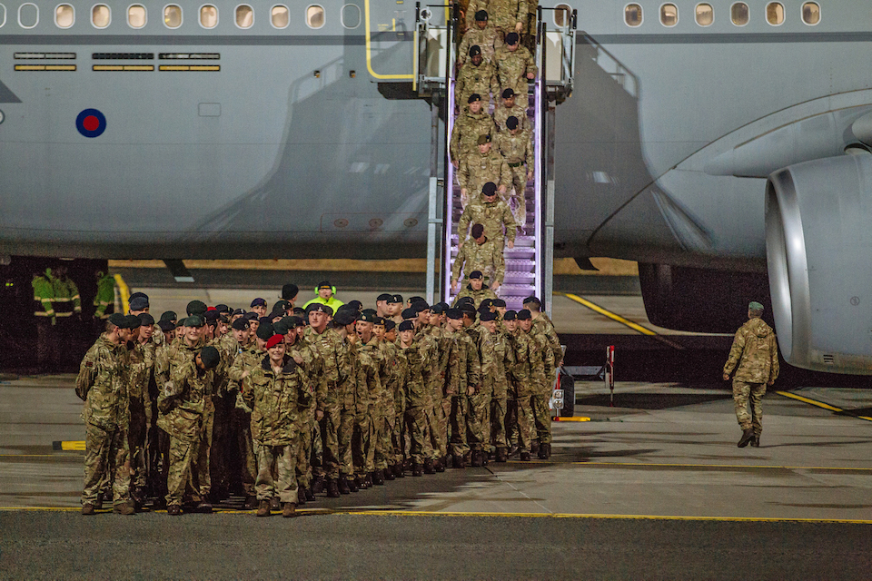 Soldiers from the 5th Battalion The Rifles Battlegroup arrive at Amari airbase, Estonia.