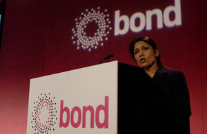 International Development Secretary Priti Patel speaks at the 2017 Bond Conference in London. Picture: Bond