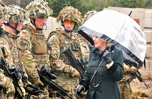 The Duchess of Cornwall meeting soldiers from 4th Battalion The Rifles [Picture: Richard Watt, Crown Copyright/MOD 2013]