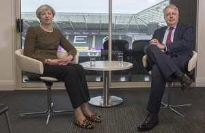 Prime Minister Theresa May and First Minister of Wales Carwyn Jones meeting at the Liberty Stadium in Swansea