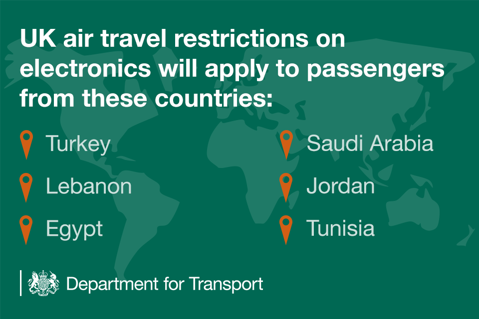 UK air travel restrictions on electronics will apply to passengers from Turkey, Lebanon, Egypt, Saudi Arabia, Jordan and Tunisia.