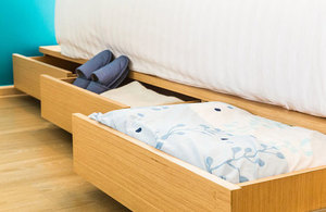 Bed with drawers.