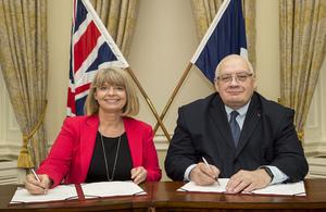 Defence Minister Harriett Baldwin with her French counterpart Laurent Collet-Billon signing the agreement with MBDA.