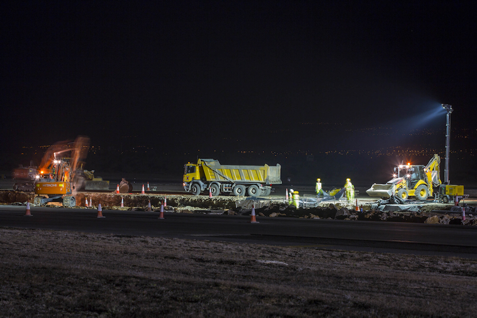 Night time work on the RAF Akrotiri runway.