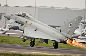 A Typhoon takes off from RAF Northolt [Picture: Senior Aircraftman Neil Chapman, Crown Copyright/MOD 2012]