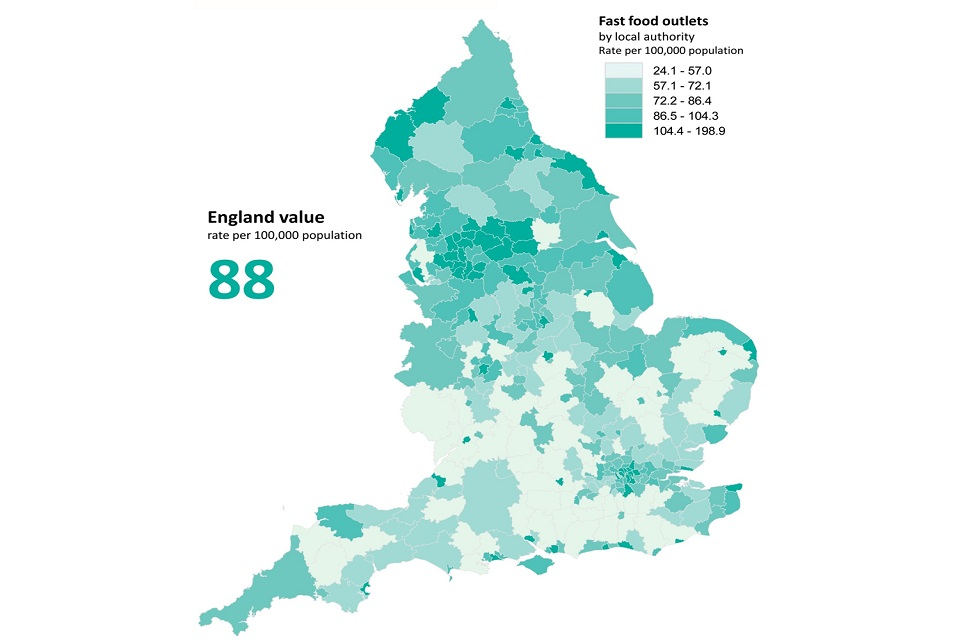 Map of England showing concentrations of fast food outlets in different areas of the country