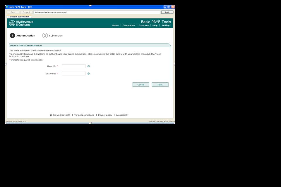 BPT Submission authentication