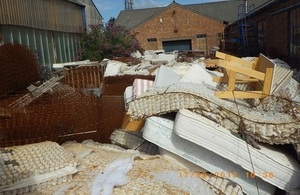 Waste mattresses found at a site in Norwich