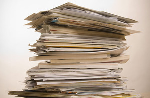 Stack of papers.