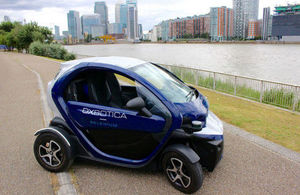 Oxbotica's autonomous Geni vehicle on Thames Path Greenwich.
