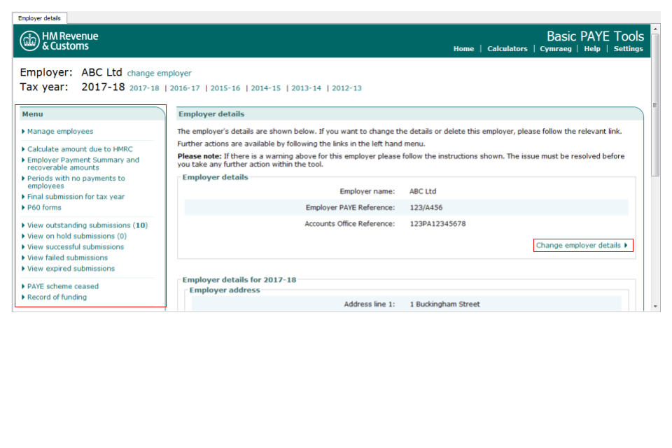 Basic paye tools user guide gov the employer name and the tax year are shown below the hmrc logo spiritdancerdesigns Gallery