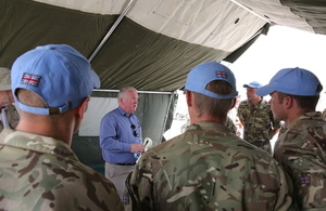 Mike Penning speaks to UK personnel in South Sudan