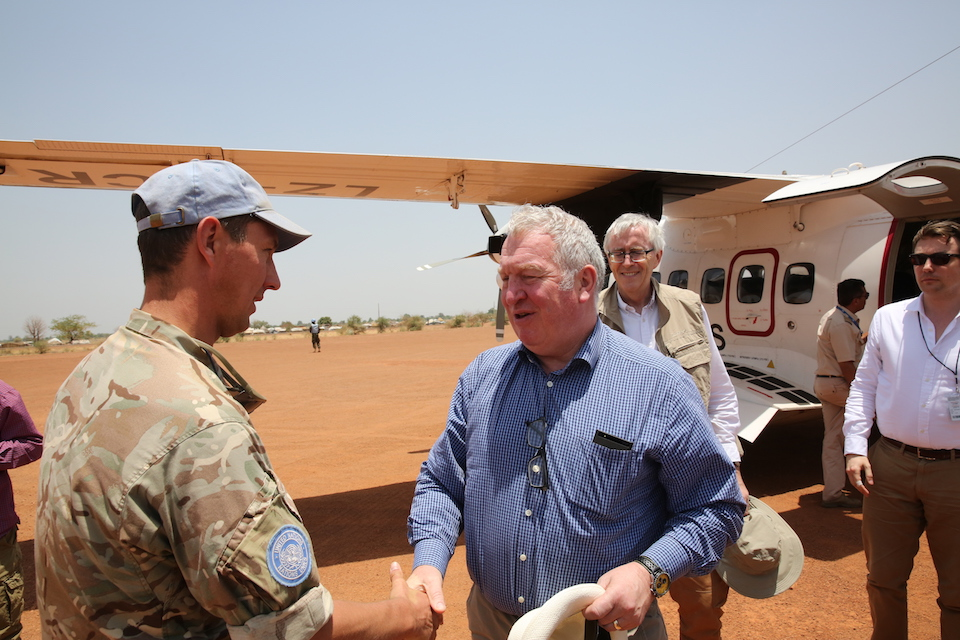 Armed Forces Minister Mike Penning arrives in South Sudan