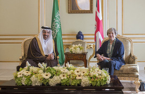 Prime Minister Theresa May with the Saudi Energy Minister.