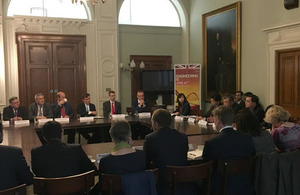 Roundtable hosted by Greg Hands to discuss opportunities for UK businesses in Pakistan.