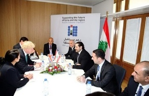 PM Hariri with Foreign Secretary Boris Johnson and International Secretary of State Priti Patel in Brussels