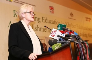 Judith Herbertson, Deputy Head of the UK's Department for International Development (DFID) at the 'event 'Reforming Education in Khyber Pakhtunkhwa', at the Marriott Hotel Islamabad.