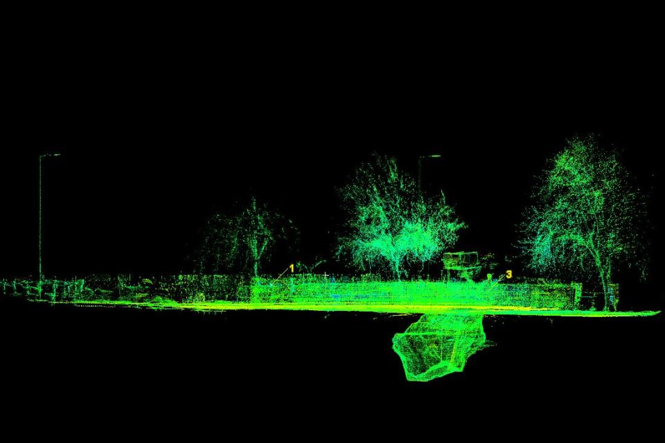Laser scan showing the void beneath Kilbowie Road