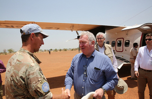 During the visit Armed Forces Minister Mike Penning met UK personnel supporting the UN Mission in South Sudan. Crown Copyright.