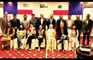 Participants from Chevening South Asia Journalism Programme in train the trainers session with leading media trainers, officials from the British High Commission and organsing team from Mishal Pakistan