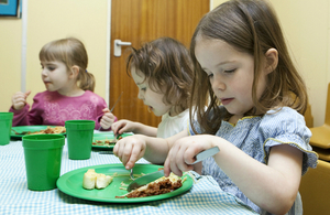 Pre-school children eating