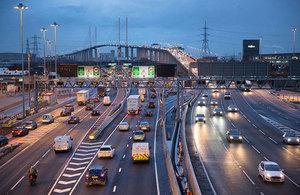 Cars on motorway at night.