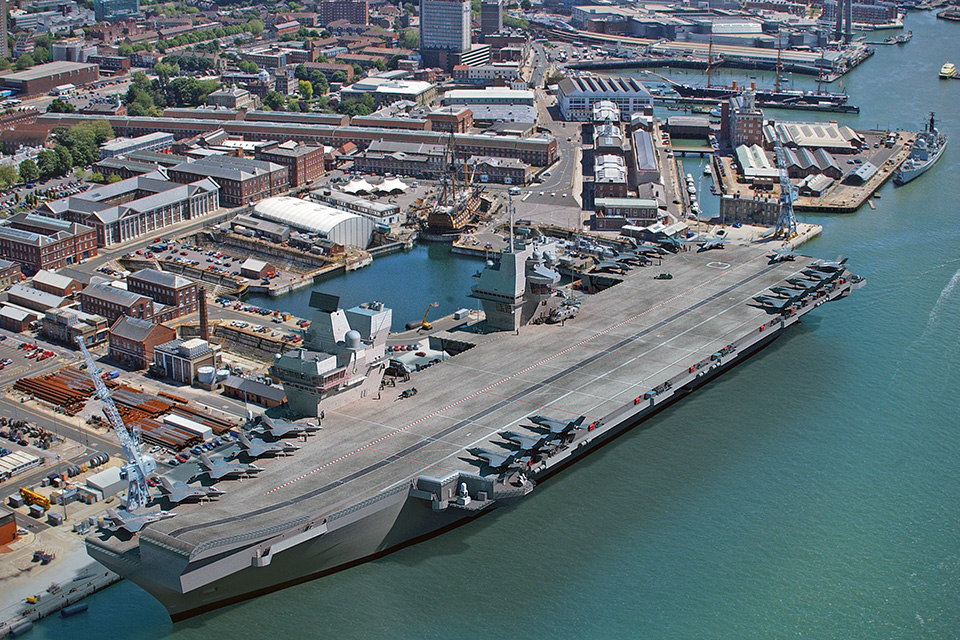 A computer generated image (CGI) of one of the two new Royal Navy aircraft carriers. Crown Copyright.