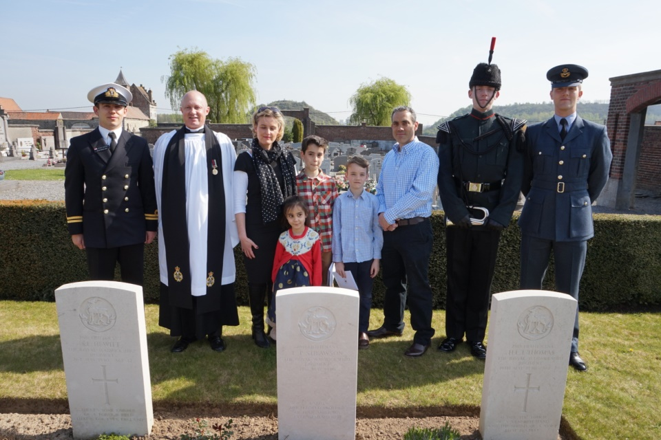 Gt Niece, Julia Cottam and family with those conducting the service, Crown Copyright, All rights reserved