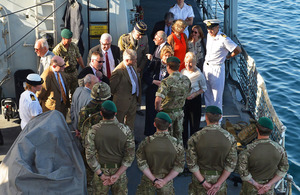 NATO delegates receive a brief on the capability of the Royal Marines on board HMS Monmouth in Qatar [Picture: Leading Airman (Photographer) Will Haigh, Crown Copyright/MOD 2013]