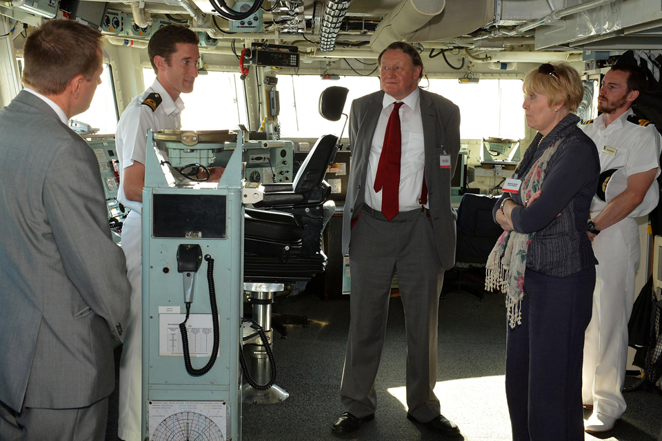 Sir John Stanley and other NATO delegates on the bridge of HMS Monmouth