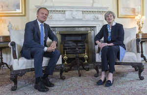 Prime Minister Theresa May with European Council President Donald Tusk, in Downing Street.