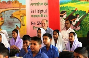 UK's International Minister Lord Bates visits Government Primary School in Savar to see how UK aid is making a difference to people's lives.