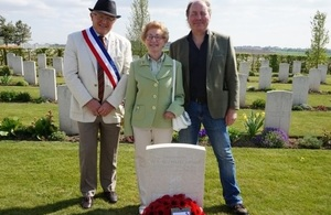 Great niece Sandra Harper with her son and Mayor of Villiers Bretonneux at the service, Crown Copyright, All rights reserved