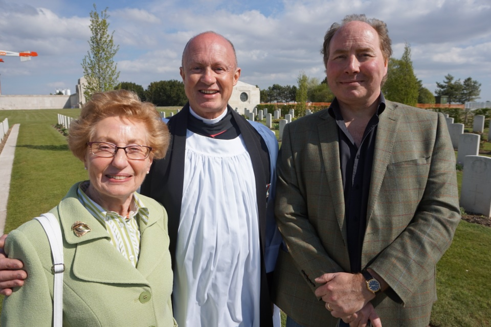 Great niece Sandra Harper with her son and Rev Justin Bradbury, Crown Copyright, All rights reserved