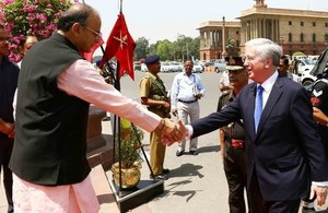 Defence Secretary Sir Michael Fallon met with his Indian counterpart Arun Jaitley during the visit. Crown Copyright.
