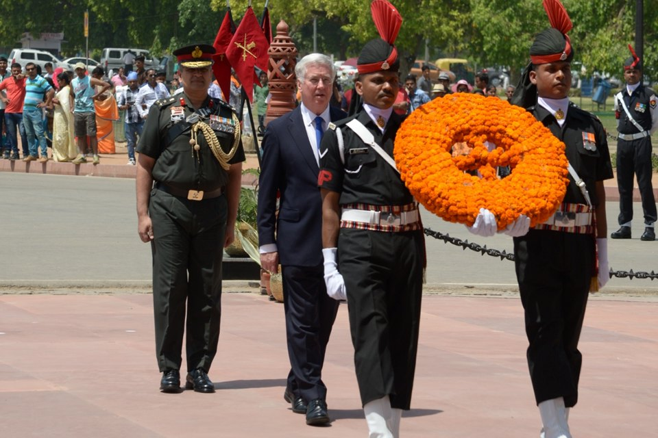 Defence Secretary Sir Michael Fallon laid a wreath at India Gate to honour the 74,000 Indians who served and died in the Second World War. Crown Copyright.