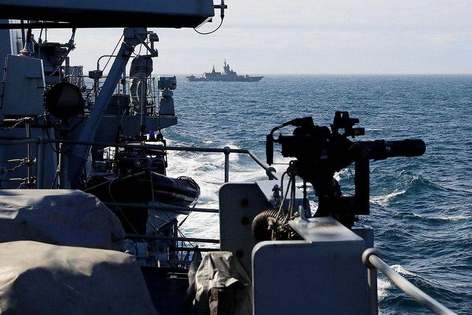 HMS Sutherland is escorting the Russian ships. Crown Copyright.