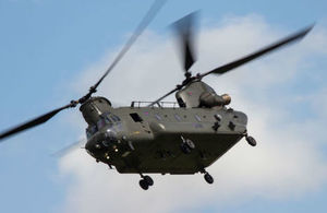 A Royal Airforce Chinook helicopter.