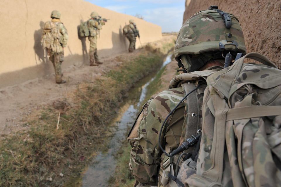 British soldiers searching compounds in Afghanistan