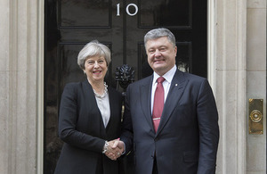 Prime Minister Theresa May shaking hands with Ukrainian President Poroshenko outside 10 Downing Street.