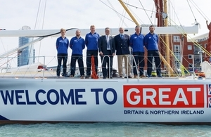 Trade Minister Mark Garnier with Clipper Chairman Sir Robin Knox-Johnston and Clipper crew