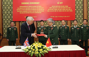 The UK and Vietnam signed a new Memorandum of Understanding on Defence-related cooperation