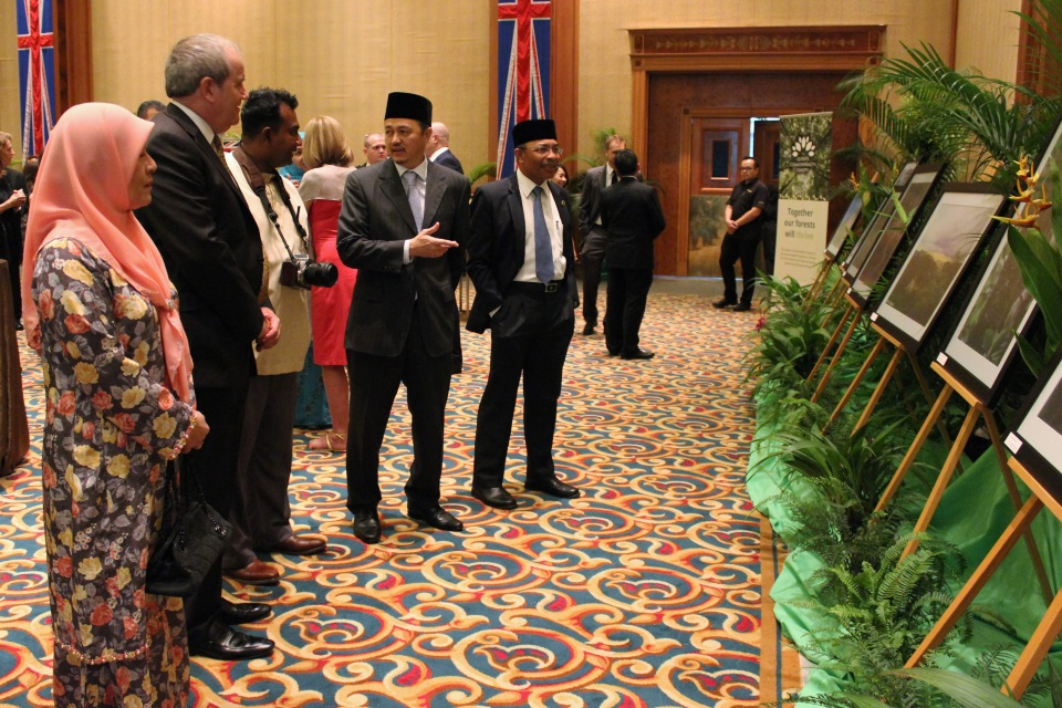 The Guests of Honour and British High Commissioner looking at pictures of Brunei's QCC dedications
