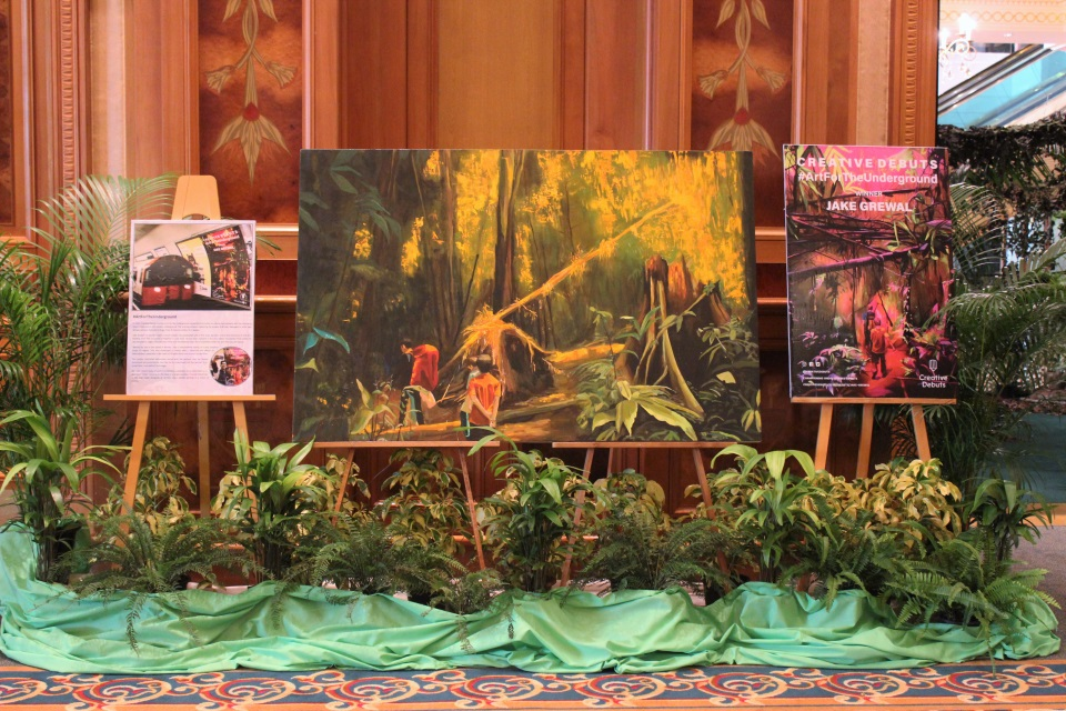 "Paintings of Brunei's rainforest by a young British artist, Jake Grewal, based in South London, who won the ""Art for the Underground"" competition"