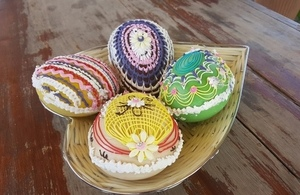 A depiction of beautiful Easter eggs made in Pakistan